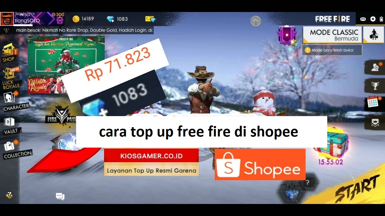 cara top up free fire di shopee
